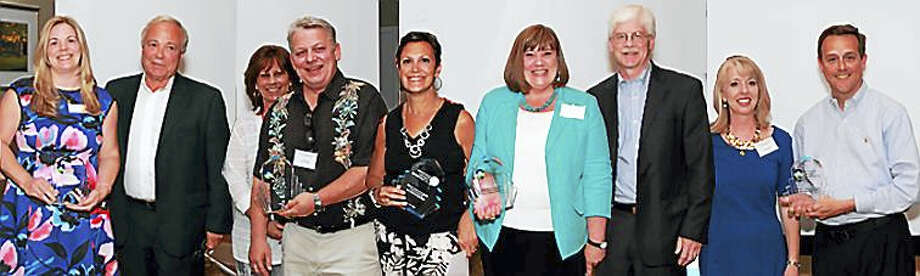 2016 Award Recipients, from left: Liz White, executive vice president, Record Journal, and Eliot White, president and publisher — Heritage Award, Record Journal; Sue Keogh, owner of Image 360, and Tim Keogh, board member and owner, Image 360 — Shining Star of the Year Small Company, Image 360; Liz Landow — Community Impact Award, Wallingford Center; Tara Knapp, board member and vice president of development, Gaylord Specialty Healthcare, and Dr. Stephen Holland, chief medical officer, Gaylord Specialty Healthcare — Leadership and Innovation in Healthcare Award, Gaylord Specialty Healthcare; Alison Avery, board member and CFO, BYK, USA, and Keith Woodward, associate vice president of facilities & operations, Quinnipiac University — Shining Star of the Year Large Organization, Quinnipiac University. Photo: CONTRIBUTED PHOTO