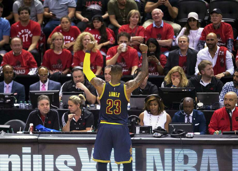 Cavaliers forward LeBron James reacts to the crowd during the second half of Game 6 of the Eastern Conference Finals on Friday. Photo: Nathan Denette — The Canadian Press Via AP   / The Canadian Press