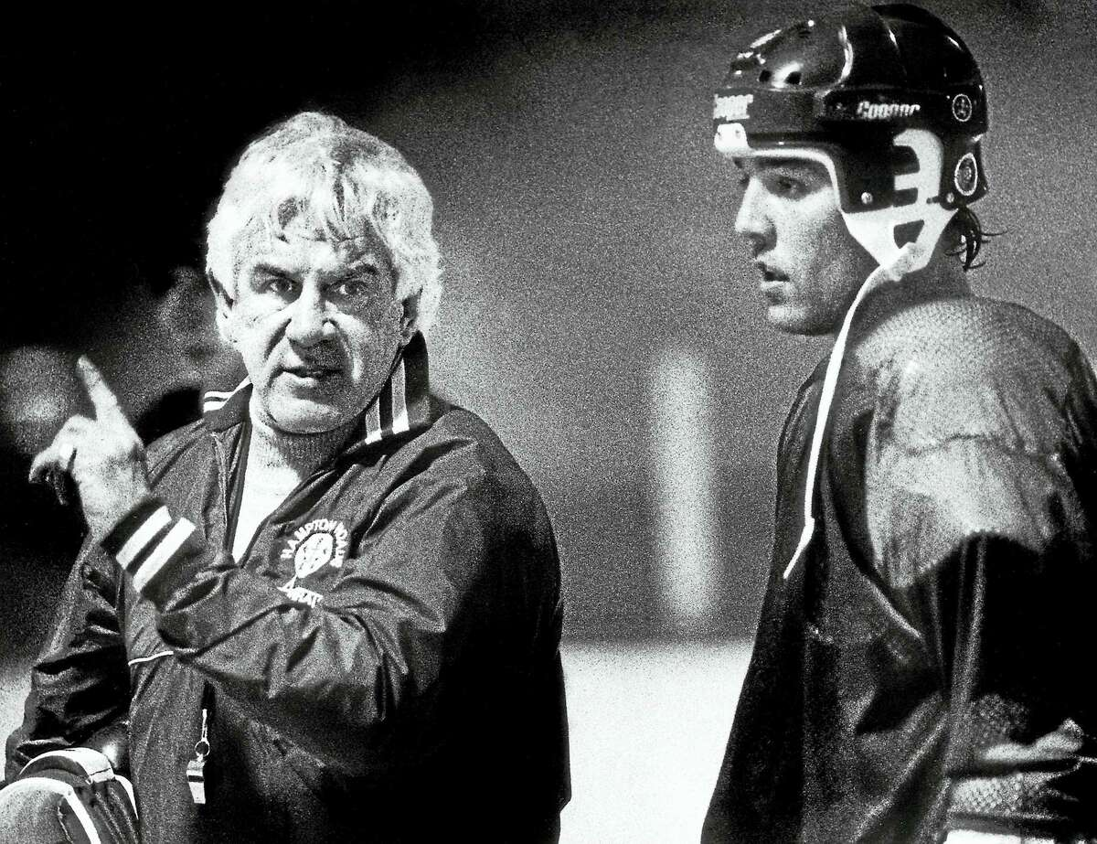 Former New Haven Blades player John Brophy, left, who went on to a long career coaching pro hockey, passed away this week at 83.
