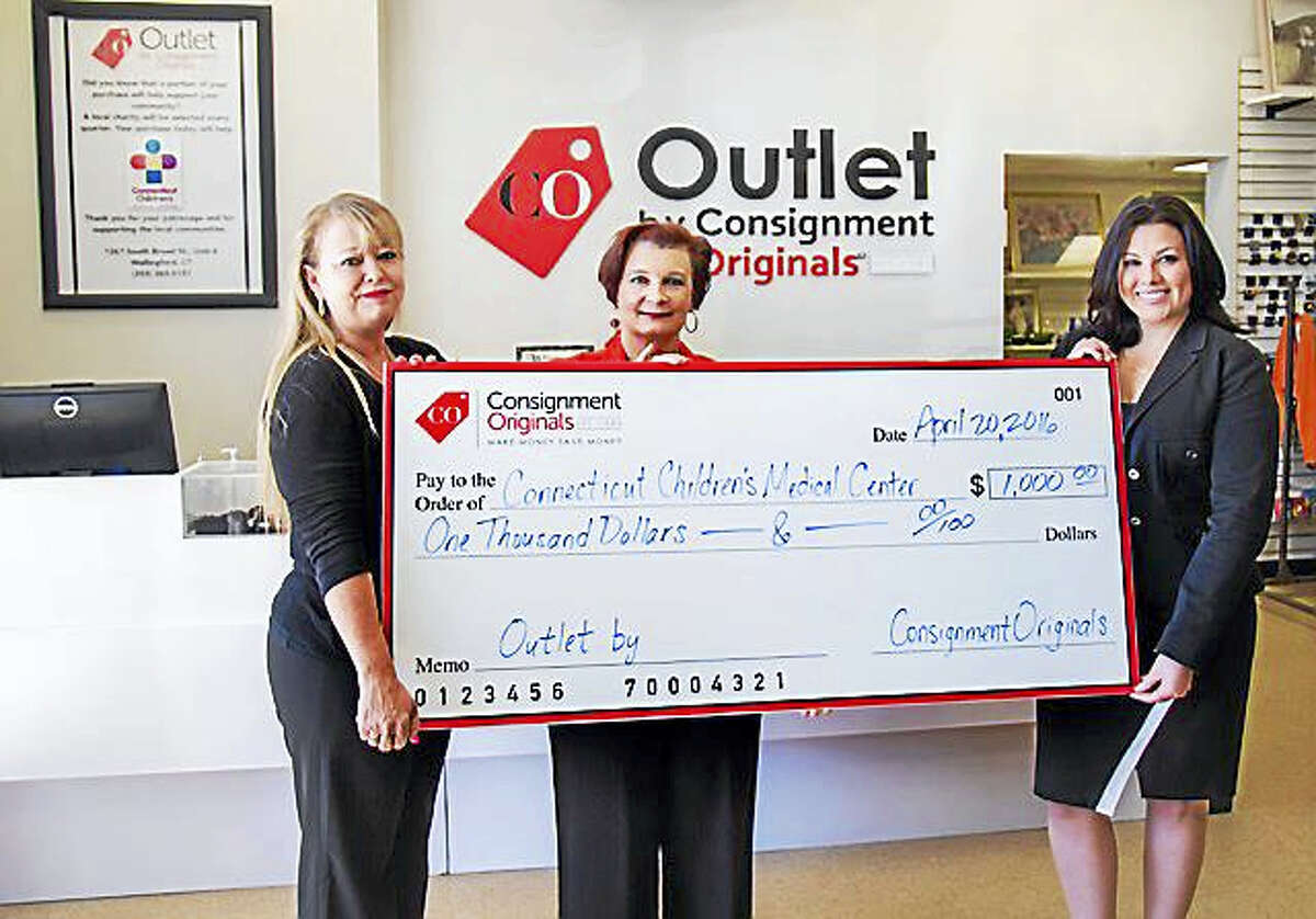 """DONATION: Jackie Leathe and Elaine Antosca of Consignment Originals present a donation check for $1,000 to Chrissa Caramia of Connecticut Children's Medical Center. The donation was a result of funds raised through in-store purchases at the Outlet by Consignment Originals location, 1267 S. Broad St. in Wallingford. Quarterly, a portion of profits from the Outlet by Consignment Originals are contributed to a local area nonprofit, according to a release. """"Social responsibility is at the core of the mission of the Outlet by Consignment Originals,"""" General Manager Jackie Leathe said in the release. """"We're pleased to be able to support our local community through this donation to Connecticut Children's Medical Center."""" For more information, visit ConsignIt.com."""