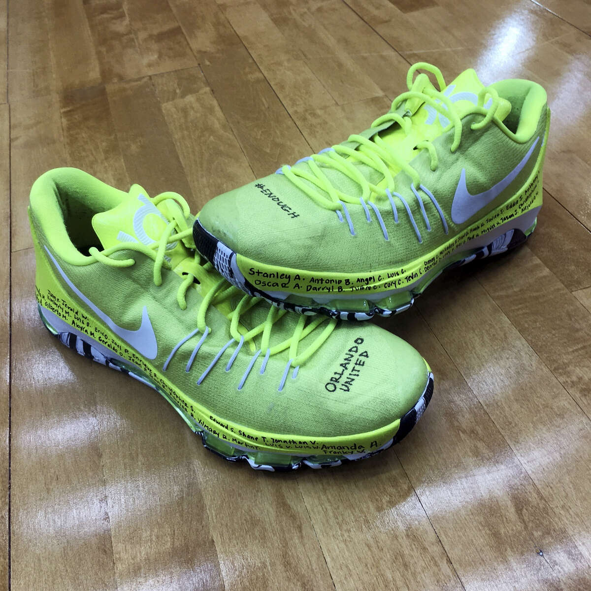 This undated photo provided by the Seattle Storm shows the shoes Breanna Stewart wore June 16, 2016, in the Storm's game against the Dallas Wings. The shoes will be auctioned to benefit the OneOrlando fund.