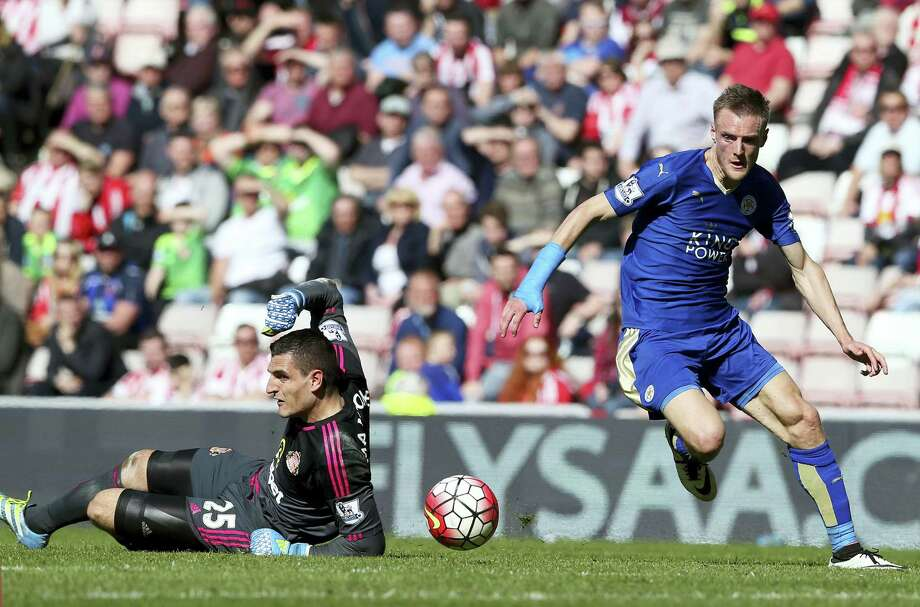 Jamie Vardy and Leicester City were a 5,000-1 shot to win the English Premier League last summer. They can clinch the title as early as Sunday with a victory of past powerhouse Manchester United. Photo: The Associated Press File Photo   / AP