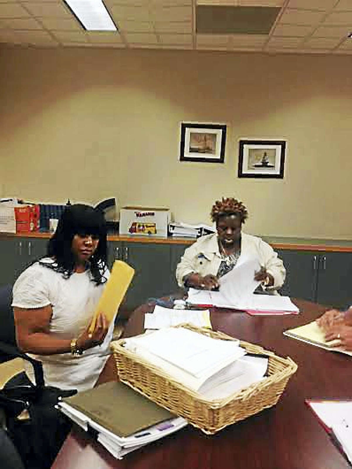 Jacqueline James, left, and Cherlyn Poindexter, president of Local 3144, at disciplinary hearing on June 6.