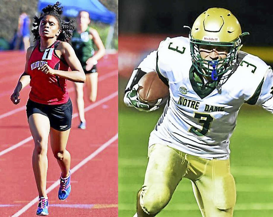 Wilbur Cross track star Danae Rivers and Notre Dame-West Haven's Nico Ragaini were named Athletes of the Year at The Register's annual banquet. Photo: Photos By Peter Hvizdak And Catherine Avalone/The New Haven Register