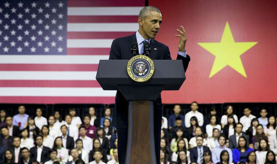 U.S. President Barack Obama speaks to Vietnamese young people during the Young Southeast Asian Leaders Initiative (YSEALI) town hall at the GEM Center in Ho Chi Minh City, Vietnam, Wednesday. Photo: THE ASSOCIATED PRESS   / Copyright 2016 The Associated Press. All rights reserved. This material may not be published, broadcast, rewritten or redistribu