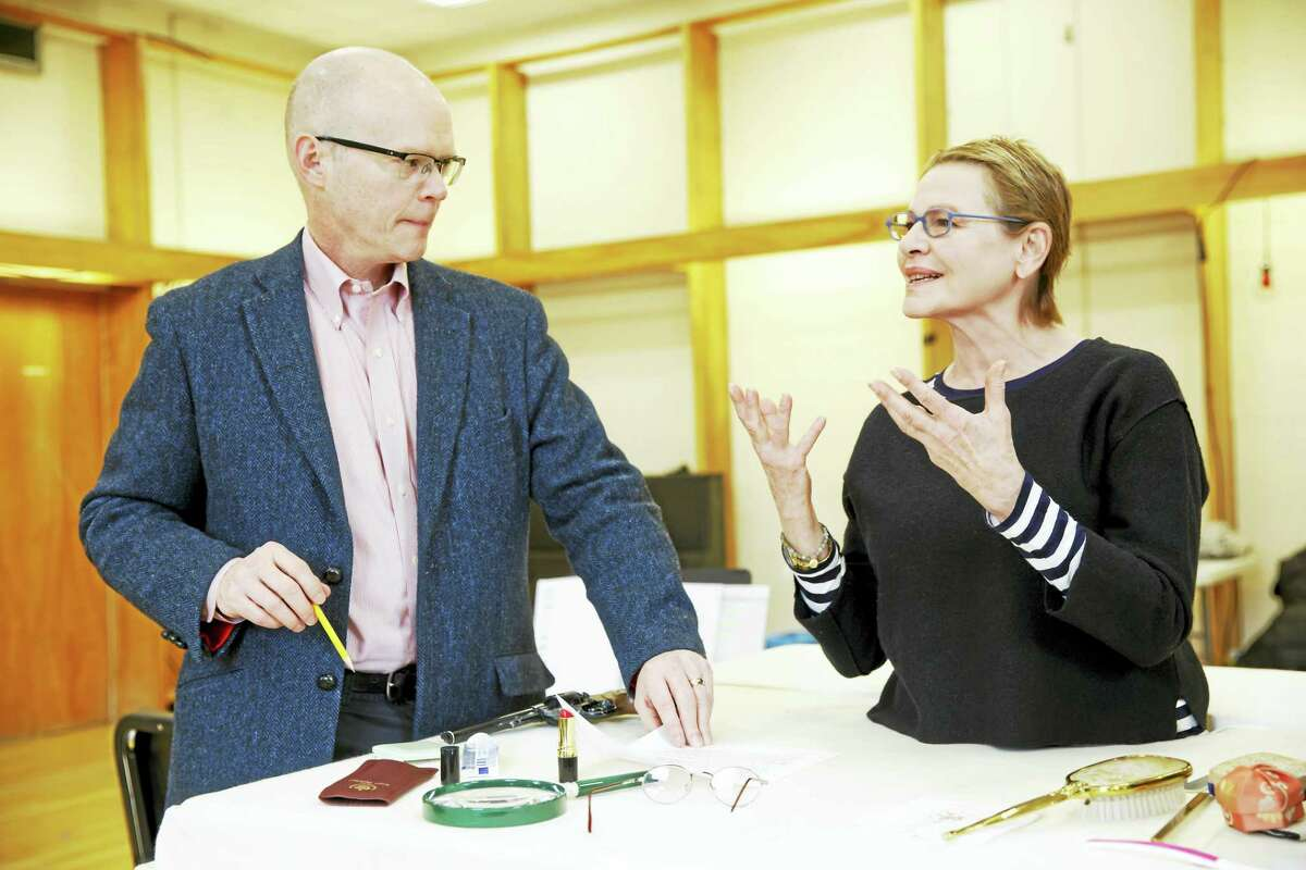"""James Bundy and Dianne Wiest in a rehearsal room for """"Happy Days."""""""