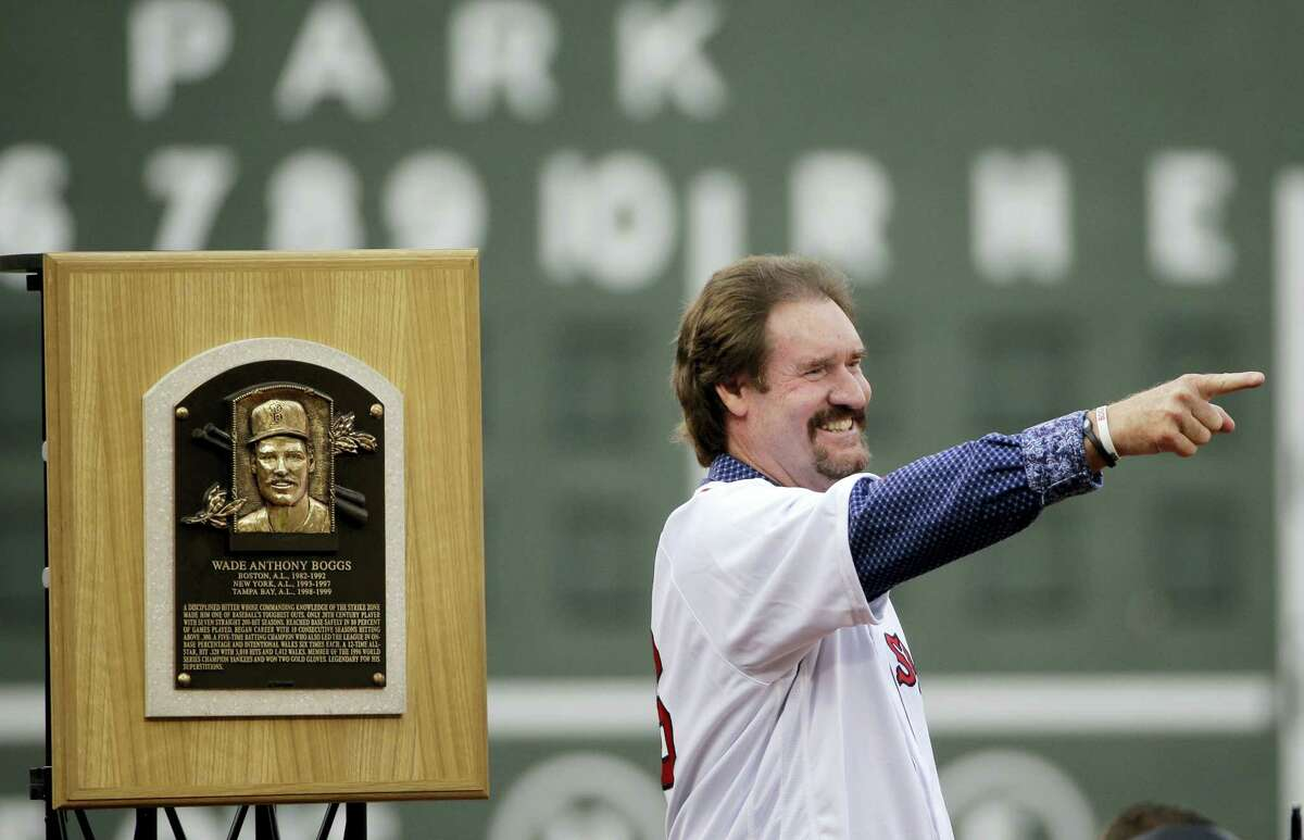 Wade Boggs gestures during the retirement ceremony on Thursday.