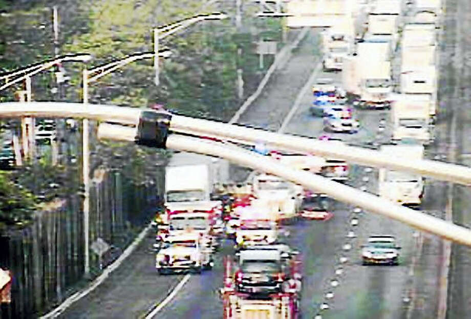 Two tractor-trailers crashed on Interstate 95 northbound just before the Exit 43 off-ramp early Thursday, causing miles of delays throughout the region. Photo: Photo From CT DOT Cameras