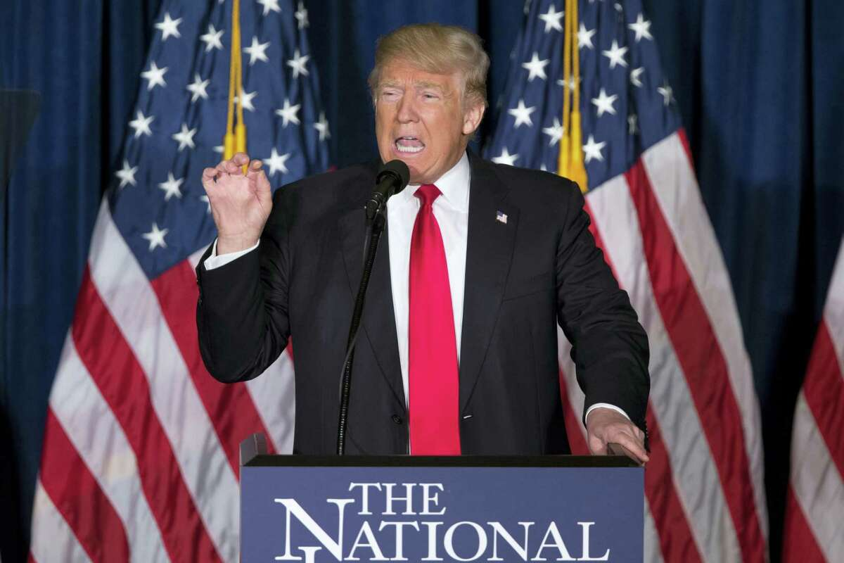 Republican presidential candidate Donald Trump gives a foreign policy speech at the Mayflower Hotel in Washington Wednesday.