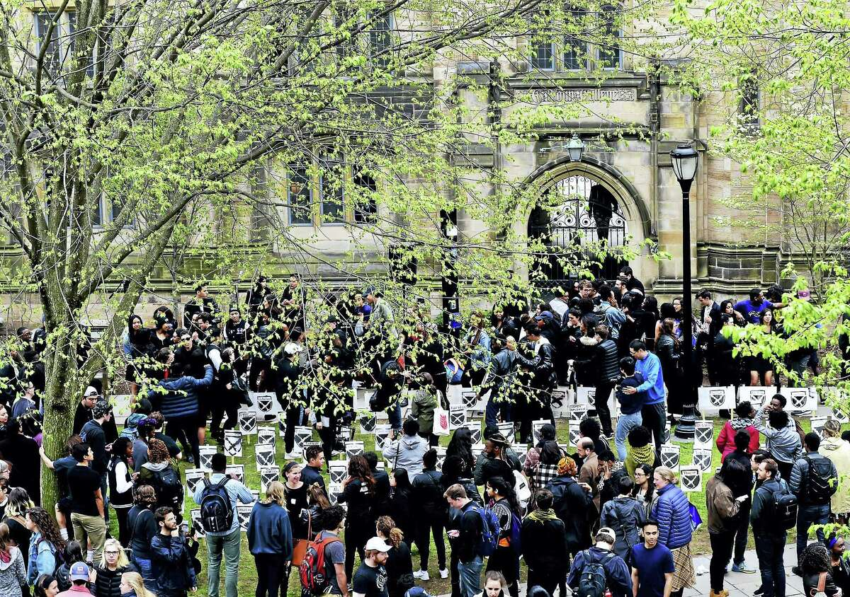 A mock renaming ceremony Friday for Calhoun College at Yale University's Cross Campus was held as a protest to the Yale administration's decision not to change the college's name.