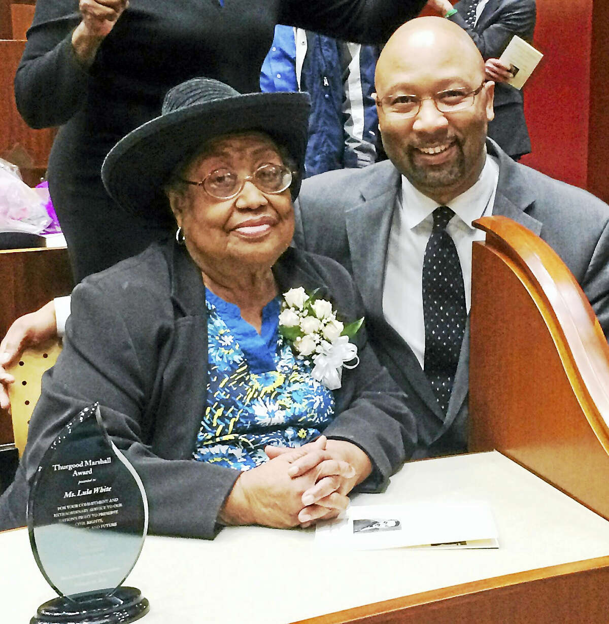 Retired New Haven high school history teacher Lula White will receive a lifetime achievement award from the Southern Connecticut Chapter of the Union of Black Episcopalians. She is shown here with Southern Connecticut UBE President Steven R. Mullins.