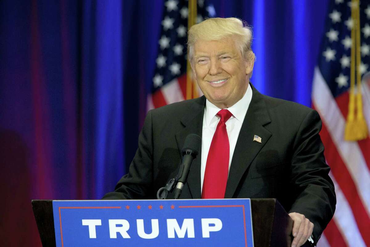 Republican presidential candidate Donald Trump smiles as he speaks in New York.