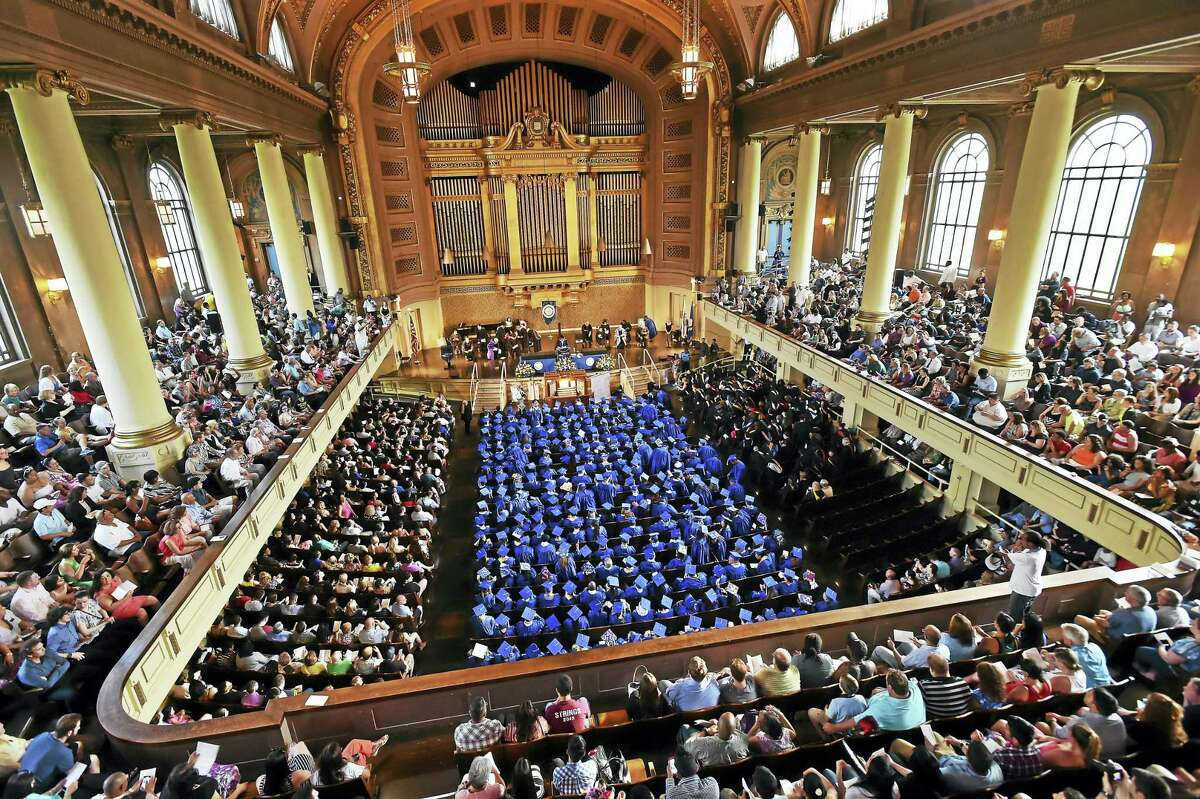 The class of 2016 at Gateway Community College celebrates commencement exercises Thursday at Woosley Hall at Yale University in New Haven.