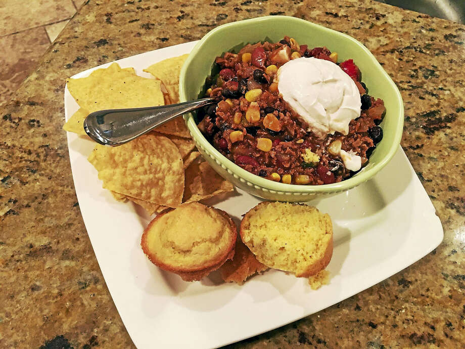 Katie Scott's two bean chili is packed with protein, despite the lack of meat in the bowl. (Katie Scott - Submitted Photo) Photo: Journal Register Co.