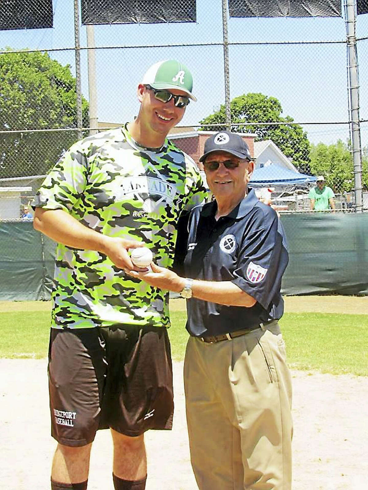 All-Star MVP and Home Run Derby Champion Mike Olszyk with WHTL President Vin DiLauro.