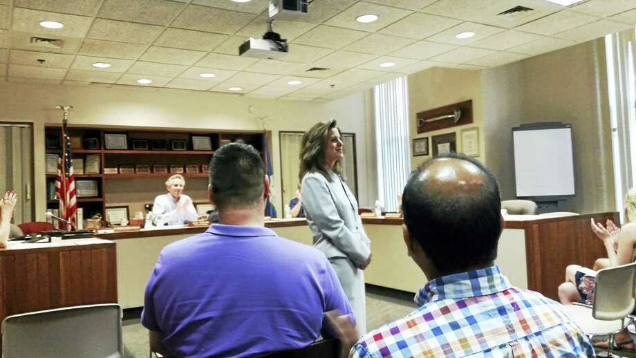 Nadine Gannon was welcomed at Tuesday night's Board of Education meeting as the new principal of Hamden High School. Photo: Kate Ramunni — New Haven Register