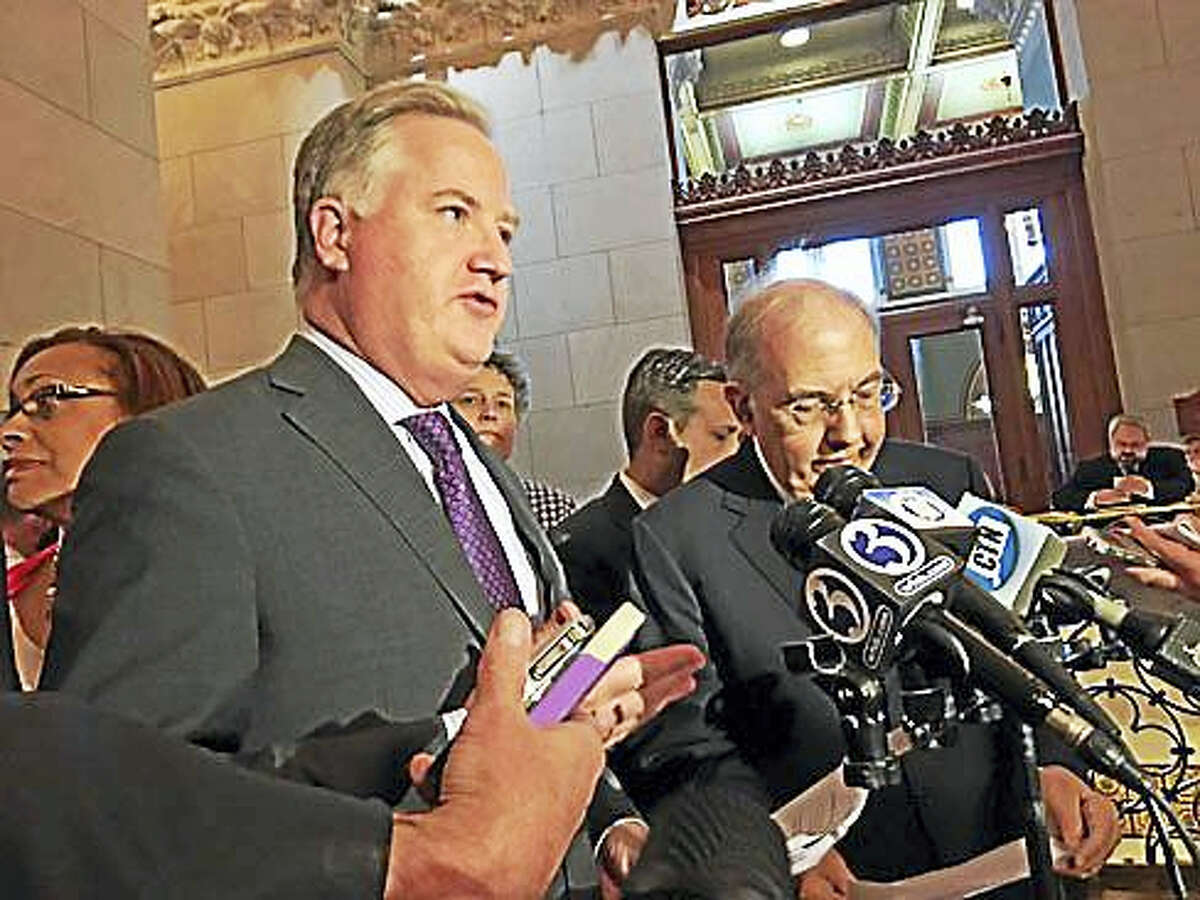 House Speaker Brendan Sharkey, left, and Senate President Martin Looney.