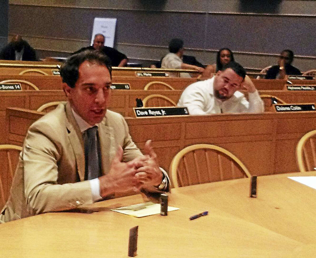 Randy Salvatore of RMS Companies addresses a joint committee of the Board of Alders. Mary O'Leary — New Haven Register