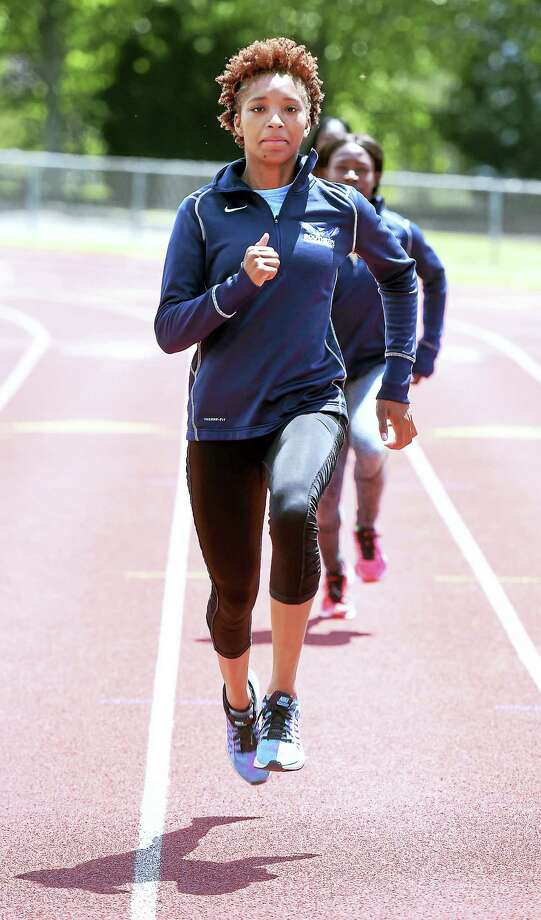 Sprinter Shatajah Wattely practices at Southern Connecticut State University in preparation for the NCAA Division II Outdoor Track and Field Championships. Photo: ARNOLD GOLD — REGISTER