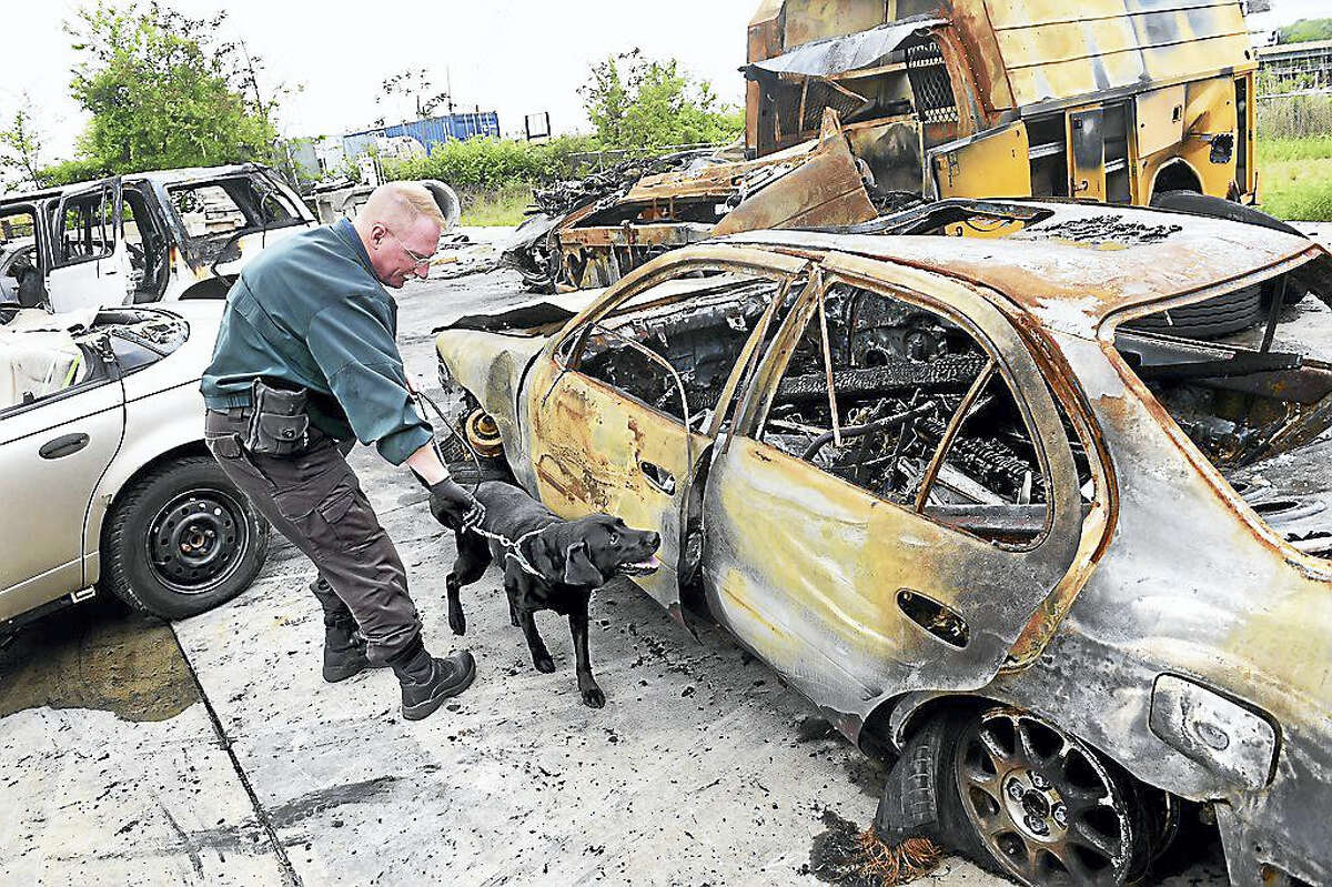 Detective Sgt. David Sutton of the Vermont State Police handles Biscuit, an accelerant detection canine, as she sniffs around a burned out car Tuesday for traces of accelerant during quarterly training at the New Haven Regional Fire Academy in New Haven. The car was used earlier in the day for fire investigation training.