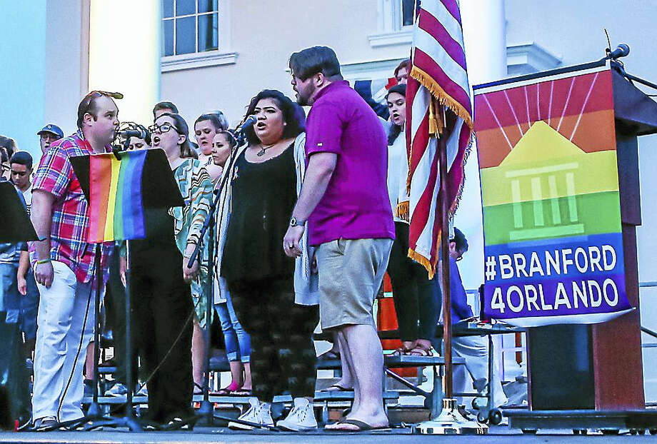 The Town of Branford held a vigil Monday night for the 49 victims of the Orlando Florida nightclub terrorist attack. Photo: (John Vanacore — Register   / John Vanacore/Register