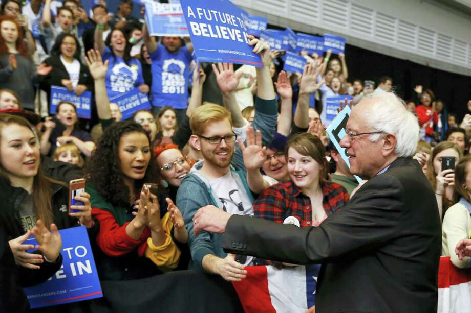 Democratic presidential candidate Sen. Bernie Sanders, I-Vt. greets supporters after a rally at a campaign stop Thursday in Pittsburgh. Photo: The Associated Press   / AP
