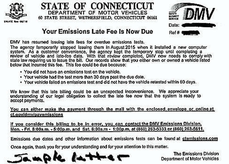Sample late fee notice Photo: Courtesy CTNJ
