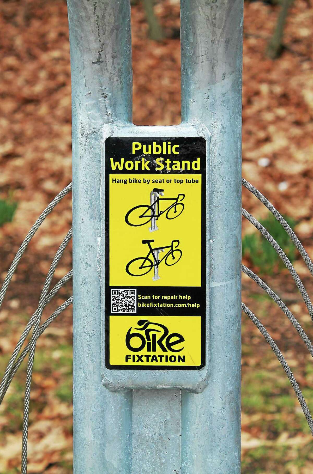 FILE PHOTO Several self-help bicycle maintenance stations called Fixtations are available around the city, like this one in East Rock Park.