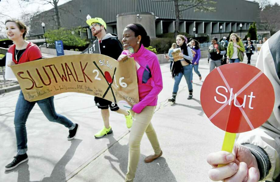 Marchers participate in a one-mile SlutWalk at Southern Connecticut State University Thursday in New Haven. Photo: Peter Hvizdak — New Haven Register   / ©2016 Peter Hvizdak