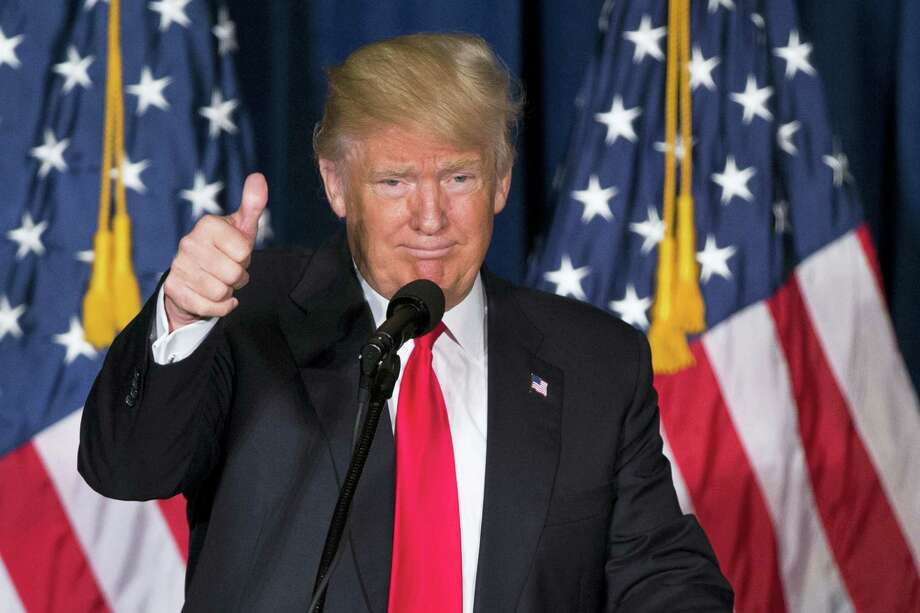 Republican presidential candidate Donald Trump gives a thumbs up after giving a foreign policy speech at the Mayflower Hotel in Washington, Wednesday, April 27, 2016. Trump's highly anticipated foreign policy speech Wednesday will test whether the Republican presidential front-runner, known for his raucous rallies and eyebrow-raising statements, can present a more presidential persona as he works to unite the GOP establishment behind him. Photo: AP Photo/Evan Vucci    / Copyright 2016 The Associated Press. All rights reserved. This material may not be published, broadcast, rewritten or redistributed without permission.