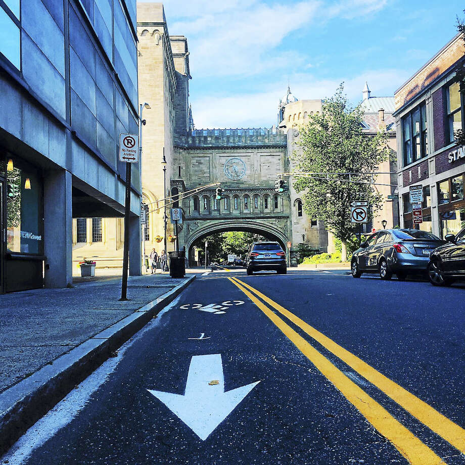 View on High Street as it intersects with Chapel Street with installation of a bike lane that runs against traffic into downtown for two blocks. Photo: Contributed