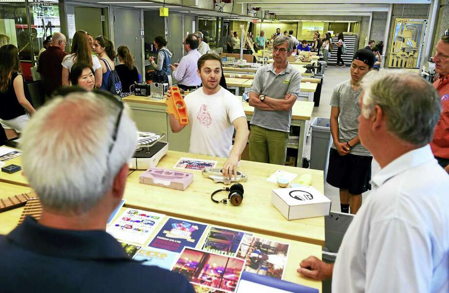 Max Emerson of the Yale University Center for Engineering, Innovation & Design (CEID) gives an overview of 3 dimensional printing at the CEID at Yale's Becton Center in New Haven during the National Week of Making and the New Haven Arts & Ideas Festival. Photo: Peter Hvizdak — New Haven Register   / ©2016 Peter Hvizdak