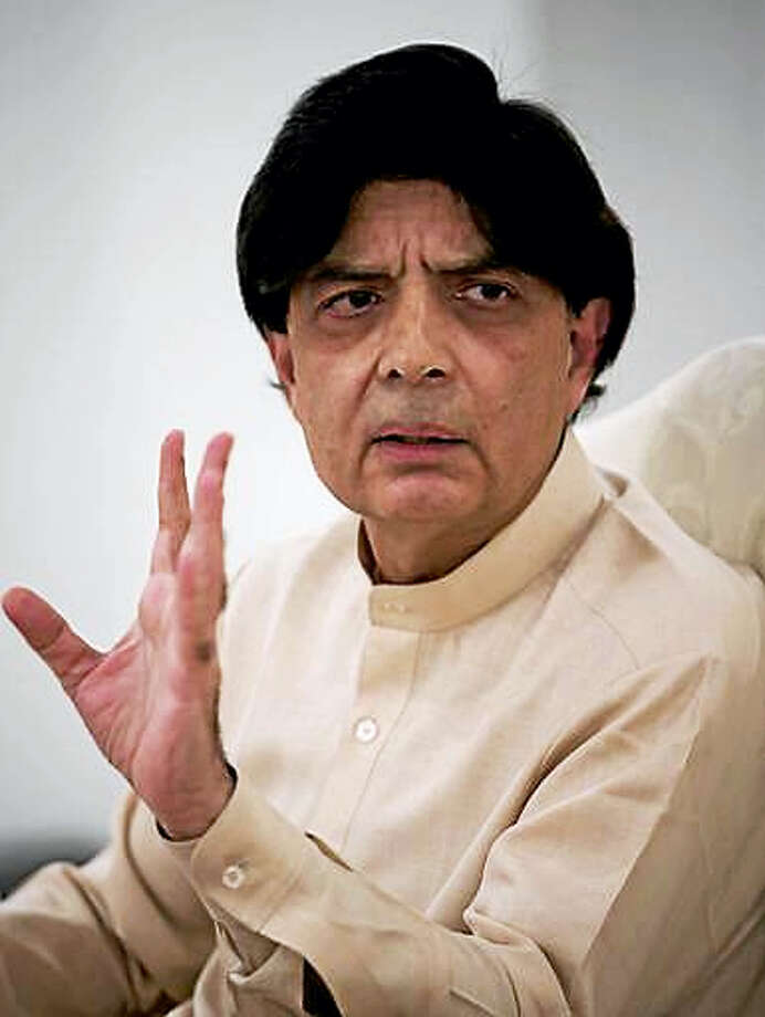 Pakistan's Interior Minister, Chaudhry Nisar Ali Khan addresses a news conference in Islamabad, Pakistan, Tuesday, May 24, 2016. Khan said authorities will perform DNA tests on the body of a man who was killed in an American drone strike to determine whether the slain man is actually Taliban chief Mullah Mohammed Akhtar Mansour. Khan also condemned the drone strike, calling it a violation of Pakistan's sovereignty. Photo: AP Photo/B.K. Bangash    / Copyright 2016 The Associated Press. All rights reserved. This material may not be published, broadcast, rewritten or redistribu