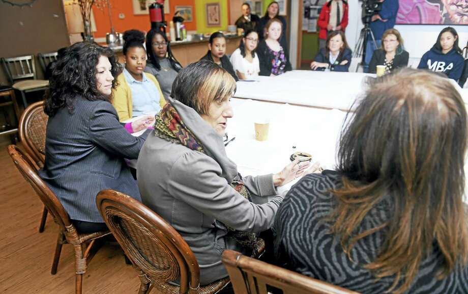 U.S. Congresswoman Rosa DeLauro (center) conducts a roundtable discussion with Monday female business leaders at Manjares Restaurant & Fine Pastries in New Haven. Photo: Arnold Gold — New Haven Register