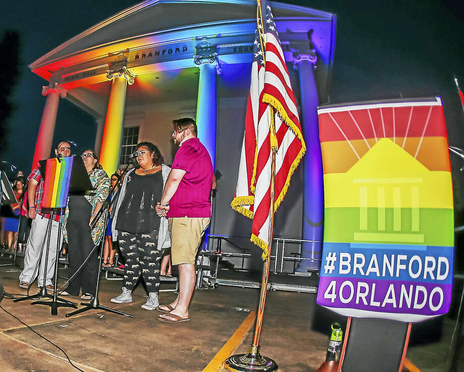 The Town of Branford held a vigil Monday night for the the 49 victims of the Orlando Florida nightclub shootings on June 12. Photo: John Vanacore — For The Register   / John Vanacore/Register