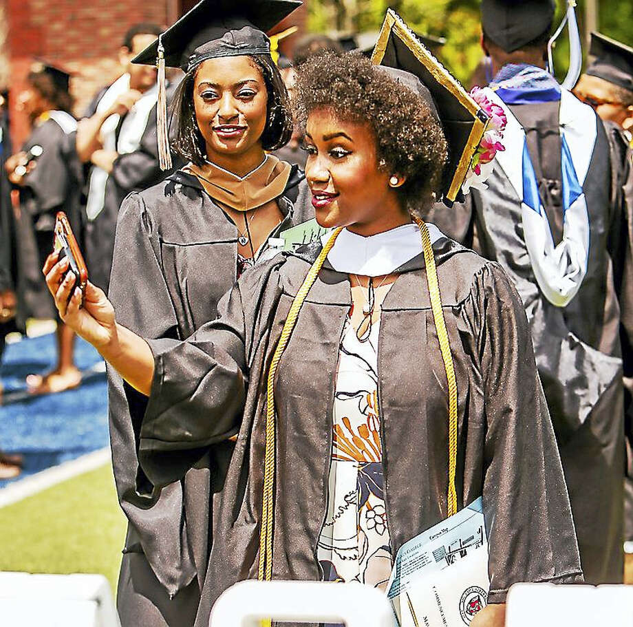 The 2016 graduating class of Albertus Magnus College, along with family and friends celebrated the 93rd commencement Sunday afternoon at Rosary Hall on the Campus of Albertus Magnus. Photo: John Vanacore — The New Haven Register   / John H.Vanacore/Register