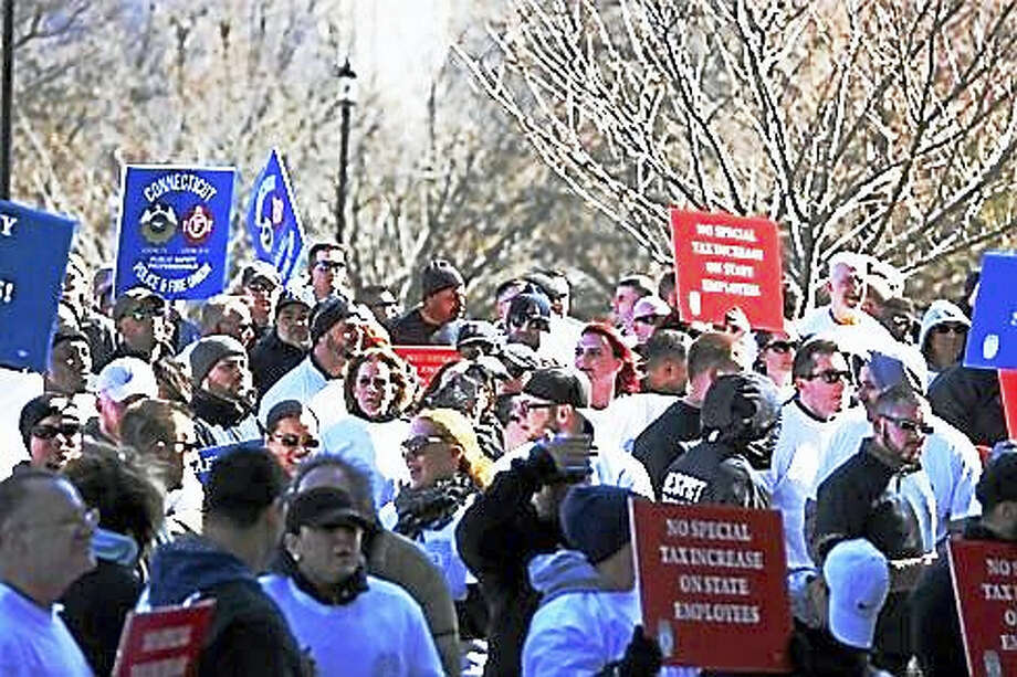 Public Safety Worker rally at the Connecticut state Capitol in Hartford. Photo: Christine Stuart — CT News Junkie