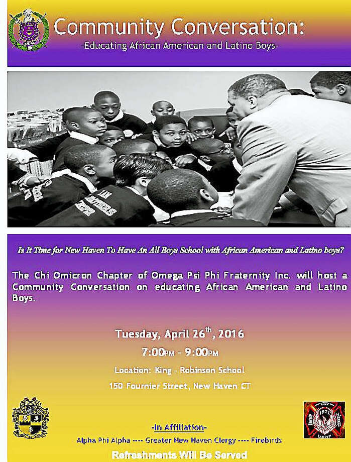 The Chi Omicron Chapter of Omega Psi Phi Fraternity Inc. will act as host for a community conversation on educating African American and Latino boys Tuesday, April 26 Photo: Journal Register Co.