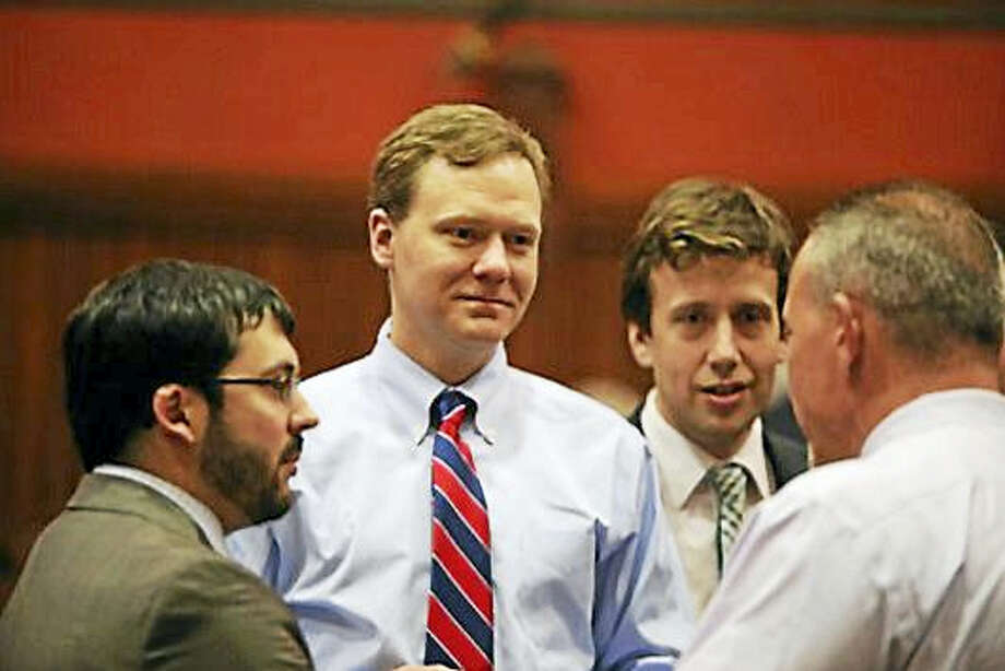 Rep. Matthew Ritter with his colleagues after the vote Photo: CHRISTINE STUART — CT News Junkie