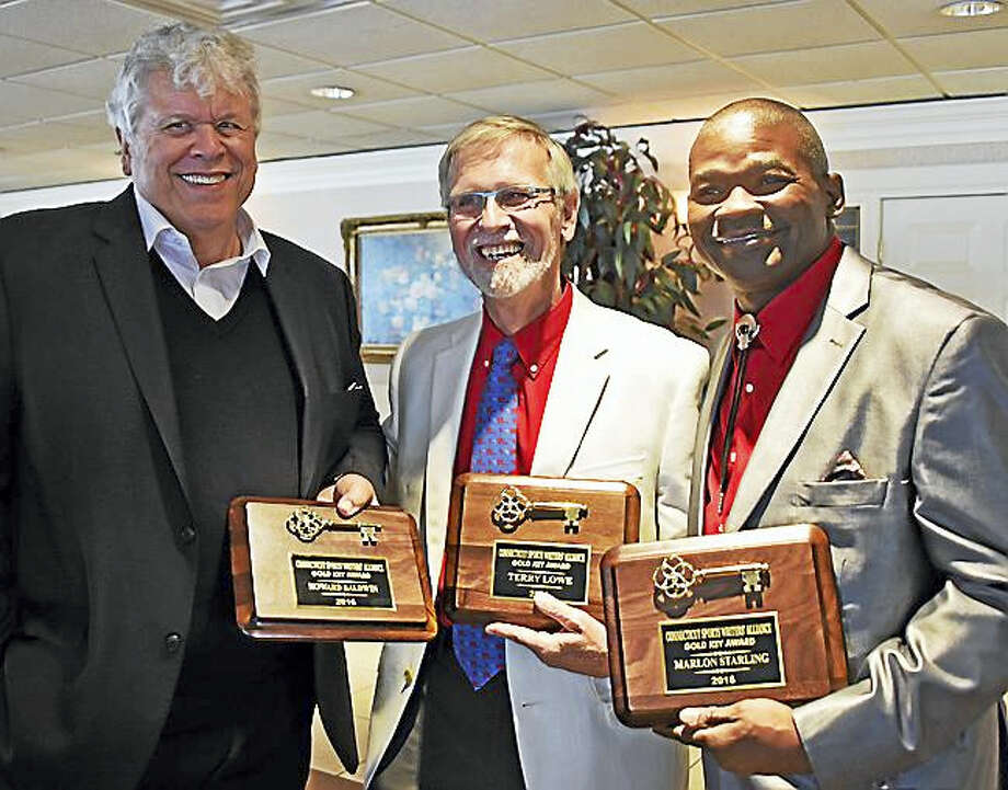 Gold Key recipients at the 75th Gold Key Dinner, from left, Howard Baldwin, Terry Lowe and Marlon Starling. Photo: Gerry DeSimas — For The Register