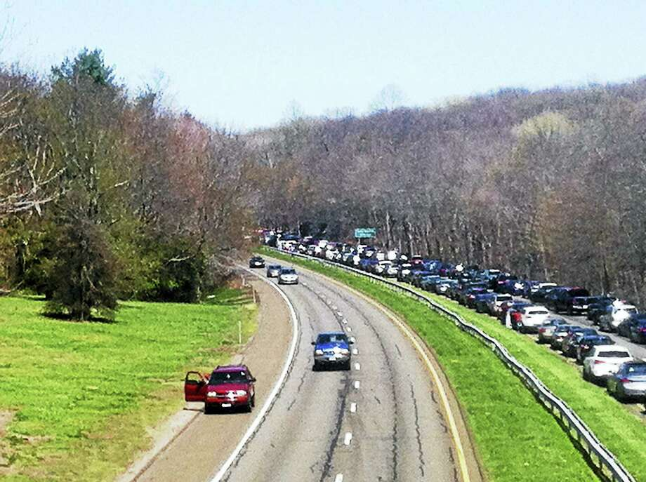 Traffic was backed up for hours Sunday on Route 15 at the Woodbridge- New Haven line Photo: Journal Register Co.