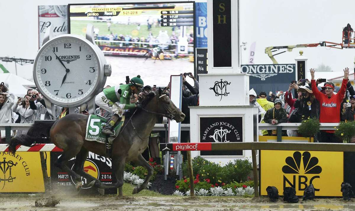 Exaggerator, with Kent Desormeaux aboard, won the Preakness Stakes at Pimlico Race Course on Saturday in Baltimore.