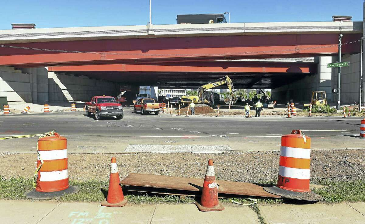 Construction takes place under I-95 in New Haven where the Farmington Canal Heritage Greenway will end and meet the East Coast Greenway.