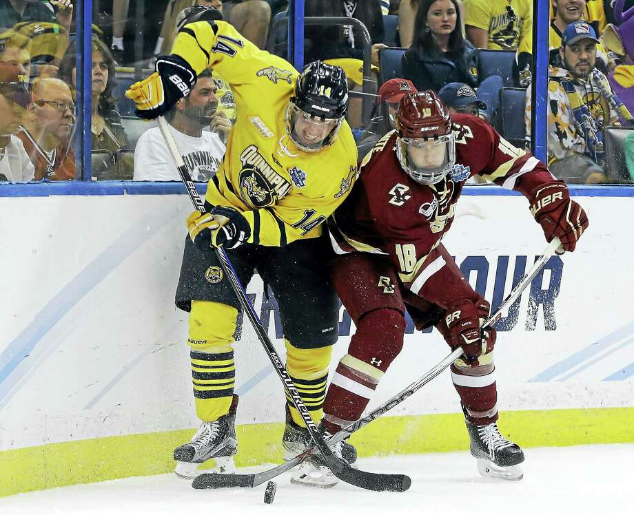Derek Smith, left, was named a team captain for the 2016-17 season for Quinnipiac. Connor Clifton will also serve as captain. Photo: The Associated Press File Photo   / Copyright 2016 The Associated Press. All rights reserved. This material may not be published, broadcast, rewritten or redistribu