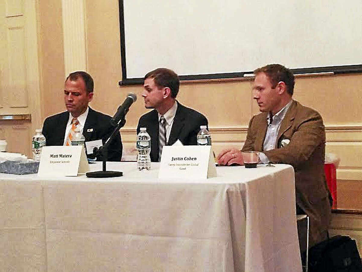 The Residency Program for School Leadership recently held a panel discussion on school turnaround. It featured panelists, from left, Nathan Quesnel, East Hartford superintendent of schools; Matt Matera, program director for Empower Schools; and Justin Cohen, a writer for the Carey Institute for Global Good.