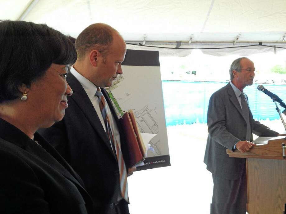 University of New Haven President Steven H. Kaplan speaks before the groundbreaking for the New Haven public school system's new ESUMS inter-district engineering and science magnet school in West Haven, as New Haven Mayor Toni Harp and Superintendent of Schools Garth Harries look on. Photo: Mark Zaretsky — New Haven Register FILE PHOTO