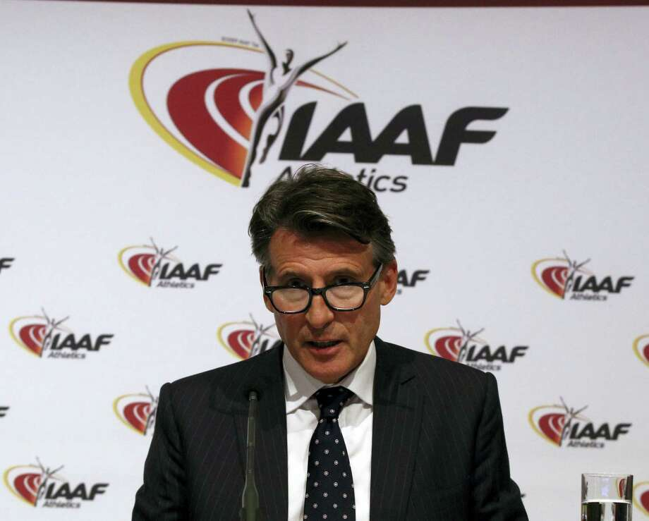 IAAF President Sebastian Coe speaks during a news conference after a meeting of the IAAF Council in Vienna, Austria, on Friday. The IAAF upheld its ban on Russia's track and field team for the Rio de Janeiro Olympics in a landmark decision that punishes the world power for systematic doping. Photo: Ronald Zak — The Associated Press   / Copyright 2016 The Associated Press. All rights reserved. This material may not be published, broadcast, rewritten or redistribu