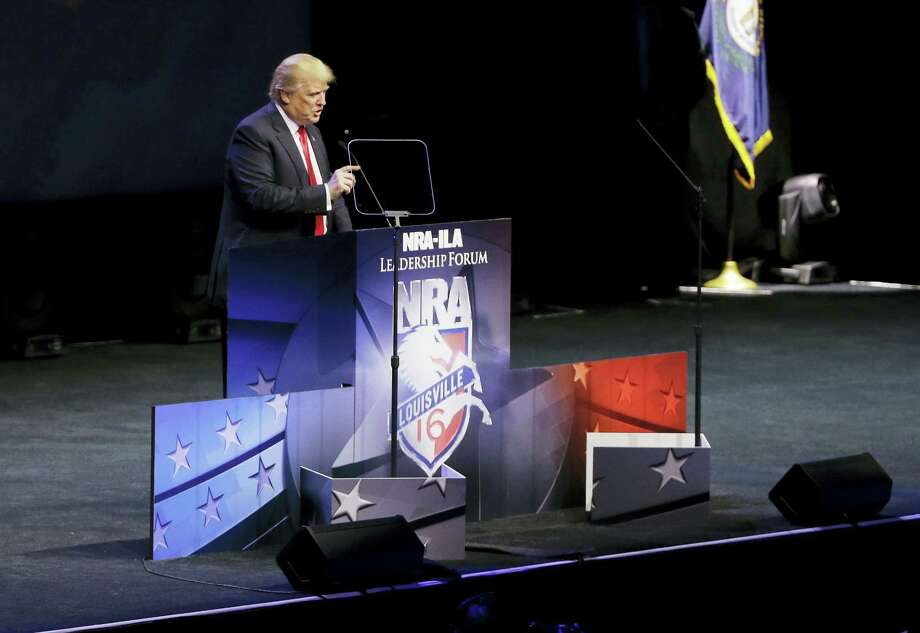 Republican presidential candidate Donald Trump speaks at the National Rifle Association convention Friday, May 20, 2016, in Louisville, Ky. Photo: AP Photo — Mark Humphrey / AP