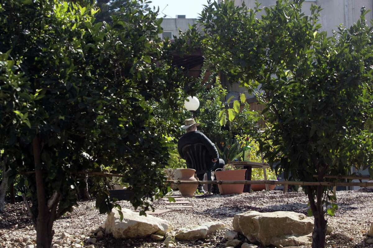 An Israeli man sits in Sha'ar HaAmakim Kibbutz in northern Israel.