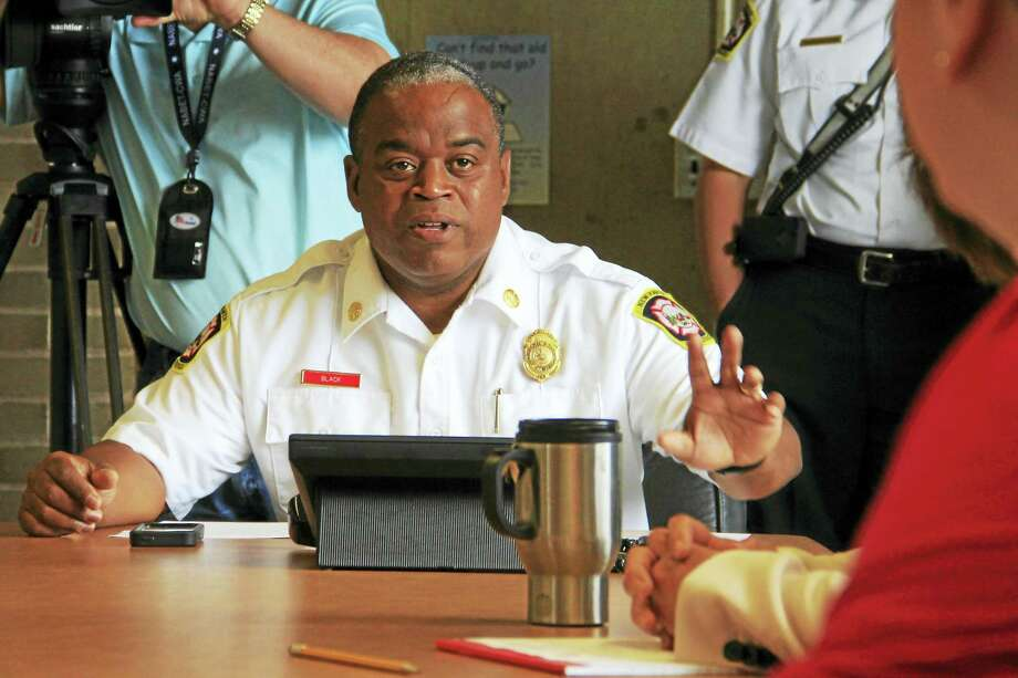 New Haven Acting Fire Chief Ralph Black during Friday's special Board of Fire Commissioners meeting. Photo: Esteban L. Hernandez — New Haven Register